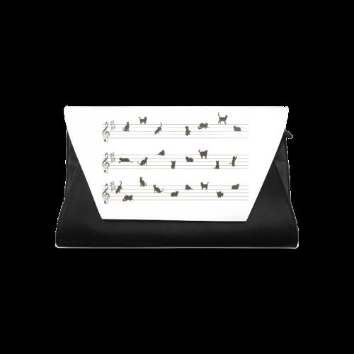 Conceptual Cat Song Musical Notes Clutch Bag (Model 1630)