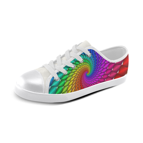 Psychedelic Rainbow Spiral Canvas Kid's Shoes (Model 016)