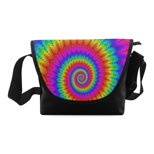 Psychedelic Rainbow Spiral Crossbody Bag/Large (Model 1631)