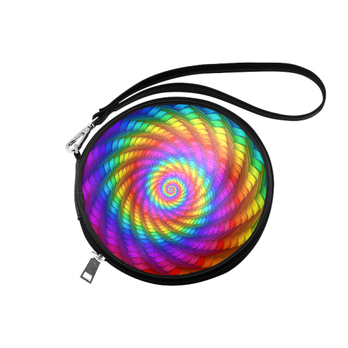 Psychedelic Rainbow Spiral Round Makeup Bag (Model 1625)