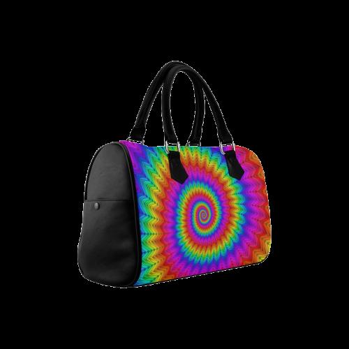 Psychedelic Rainbow Spiral Boston Handbag (Model 1621)