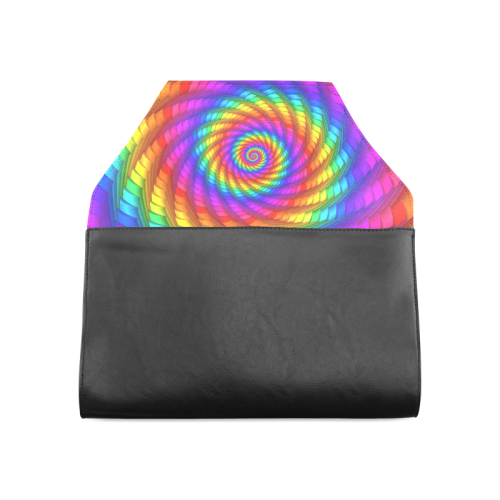Psychedelic Rainbow Spiral Clutch Bag (Model 1630)
