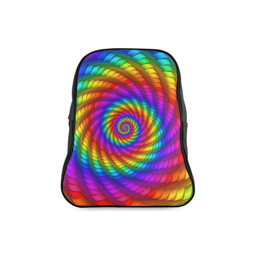Psychedelic Rainbow Spiral School Backpack/Large (Model 1601)