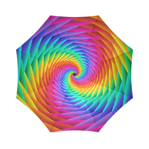 Psychedelic Rainbow Spiral Foldable Umbrella