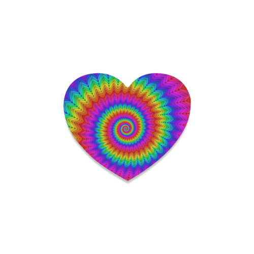 Psychedelic Rainbow Spiral Heart Coaster