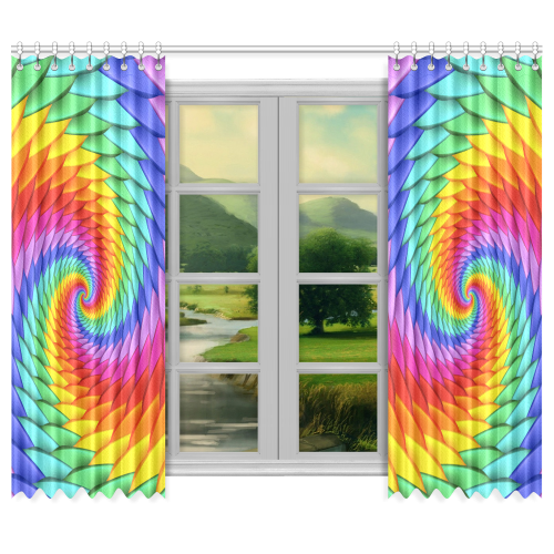 "Psychedelic Rainbow Spiral Window Curtain 50""x84""(Two Piece)"