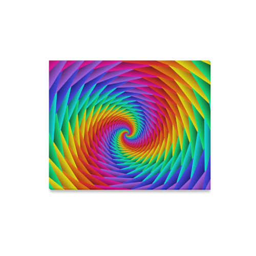 "Psychedelic Rainbow Spiral Canvas Print 20""x16"""
