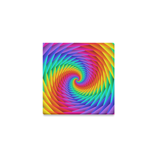 "Psychedelic Rainbow Spiral Canvas Print 4""x4"""