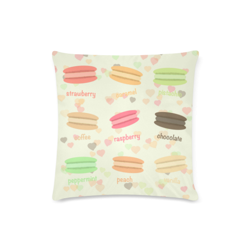 "Love Macaroons Custom Zippered Pillow Case 16""x16""(Twin Sides)"