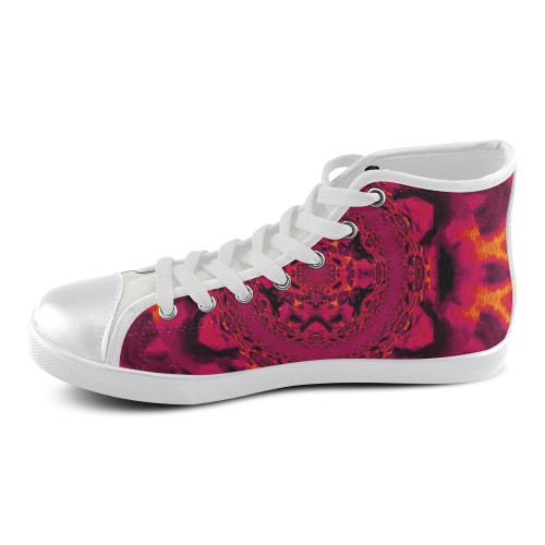Lotus Mandala in Red Pastels Women's High Top Canvas Shoes (Model 002)