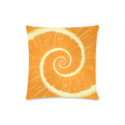 "Spiral Citrus Orange Droste Custom Zippered Pillow Case 16""x16""(Twin Sides)"