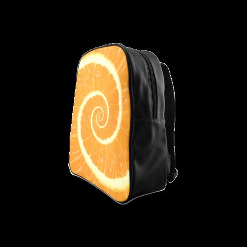 Spiral Citrus Orange Droste School Backpack/Large (Model 1601)