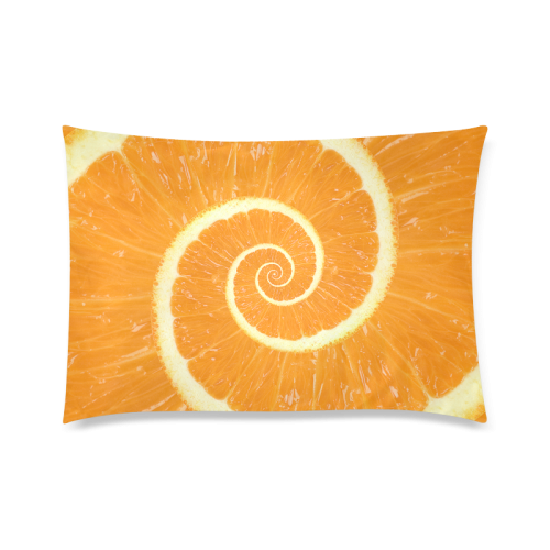 "Spiral Citrus Orange Droste Custom Zippered Pillow Cases 20""x30"" (one side)"