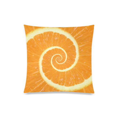 "Spiral Citrus Orange Droste Custom Zippered Pillow Case 20""x20""(One Side)"