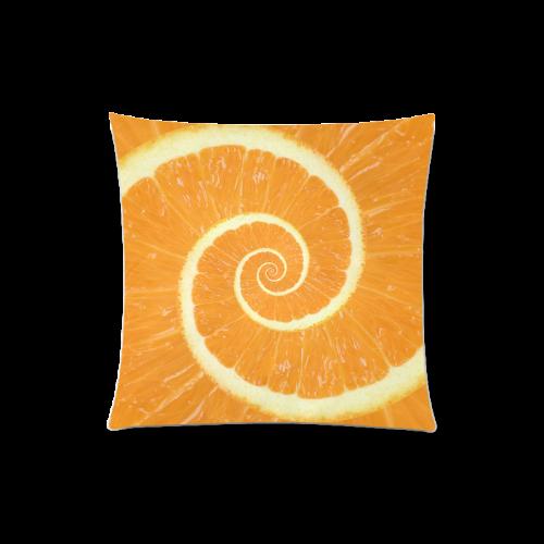 "Spiral Citrus Orange Droste Custom Zippered Pillow Case 20""x20""(Twin Sides)"