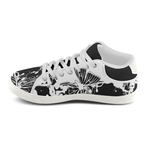 Black and White Butterfly Edition Women's Chukka Canvas Shoes (Model 003)