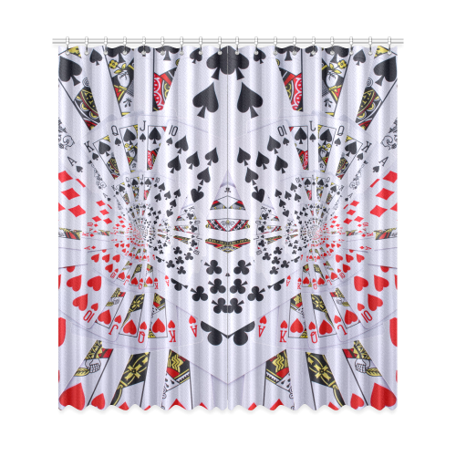 "Poker Royal Flush All Suits Droste Spiral Window Curtain 50""x108""(Two Piece)"