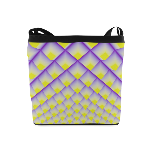 Yellow and Purple 3D Pyramids Pattern Crossbody Bags (Model 1613)