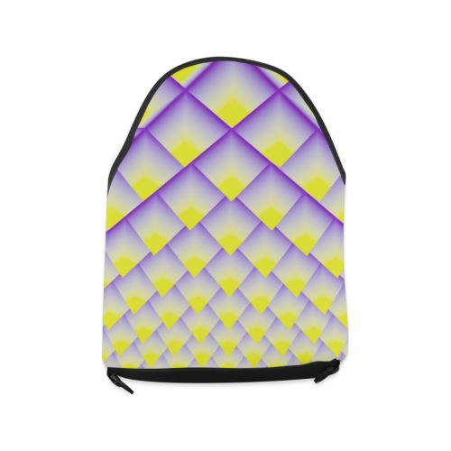 Yellow and Purple 3D Pyramids Pattern Crossbody Bag/Large (Model 1631)