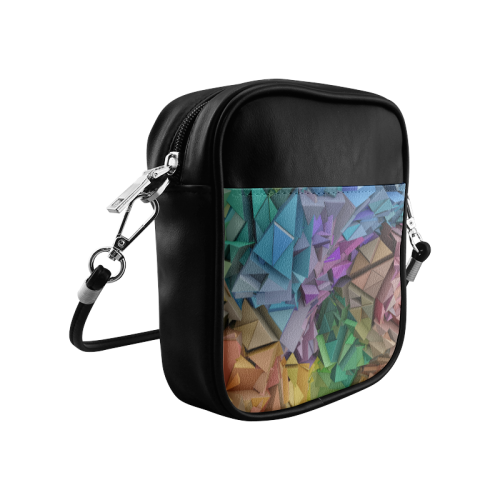 Colorful Abstract 3D Low Poly Geometric Sling Bag (Model 1627)