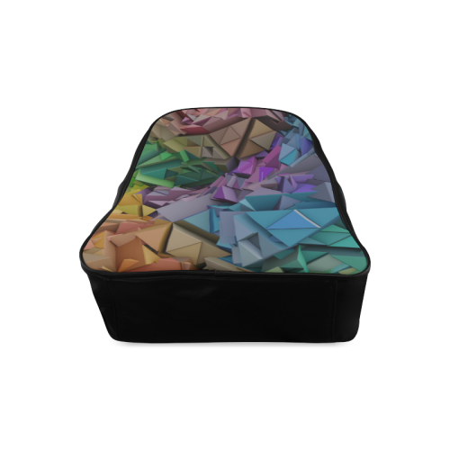 Colorful Abstract 3D Low Poly Geometric School Backpack/Large (Model 1601)