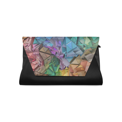 Colorful Abstract 3D Low Poly Geometric Clutch Bag (Model 1630)