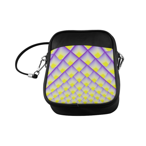 Yellow and Purple 3D Pyramids Pattern Sling Bag (Model 1627)