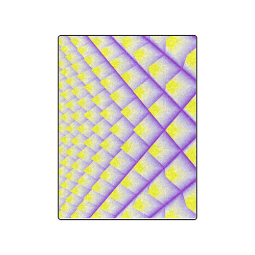 "Yellow and Purple 3D Pyramids Pattern Blanket 50""x60"""