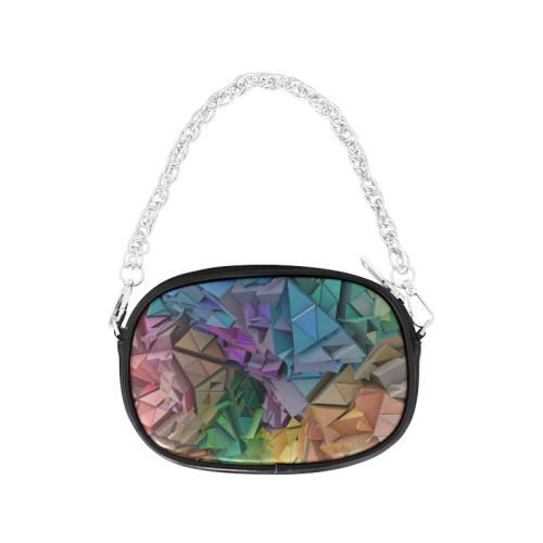Colorful Abstract 3D Low Poly Geometric Chain Purse (Model 1626)