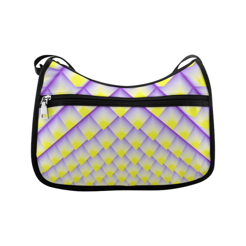 Yellow and Purple 3D Pyramids Pattern Crossbody Bags (Model 1616)