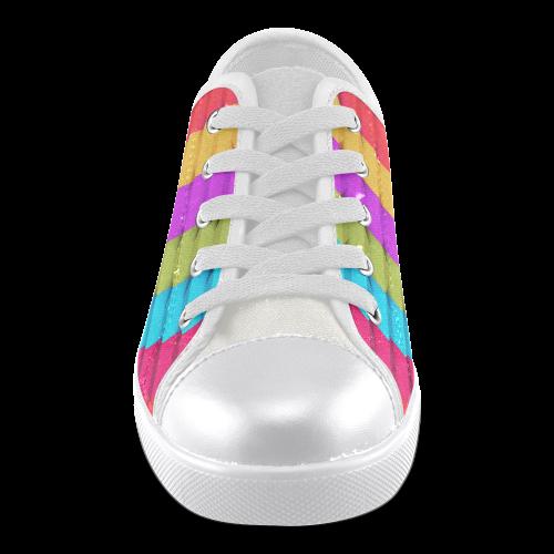 Colorful 3D Geometric Blocks Canvas Kid's Shoes (Model 016)