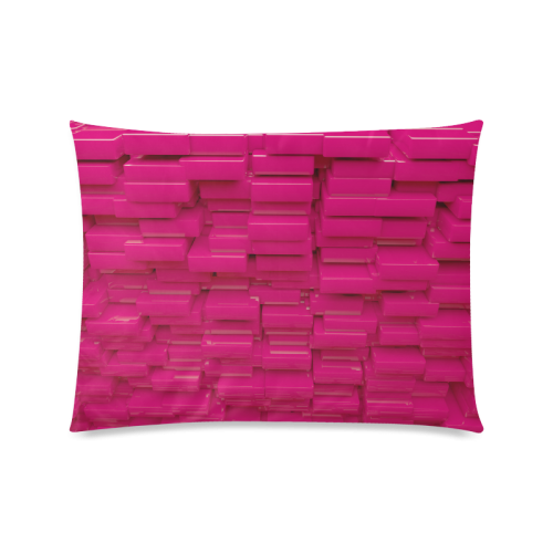 """Glossy Pink 3d Cubes Custom Picture Pillow Case 20""""x26"""" (one side)"""