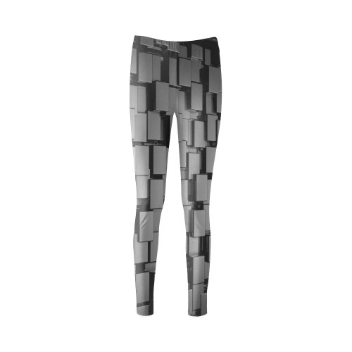 Glossy Black 3d Cubes Cassandra Women's Leggings (Model L01)