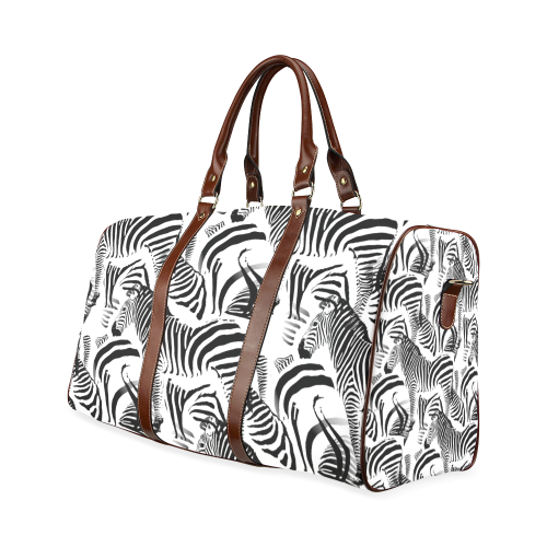 Black & White Stripes Waterproof Travel Bag/Large (Model 1639)