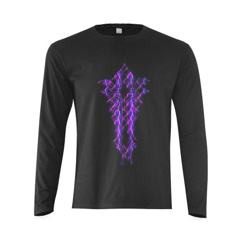 "CROSS PURPLE LIGHTNING W/ PINSTRIPE ""BACK"" Sunny Men's T-shirt (long-sleeve) (Model T08)"