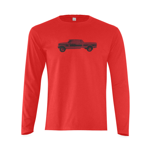 1996 Ford F350 4x4 XLT RED Sunny Men's T-shirt (long-sleeve) (Model T08)