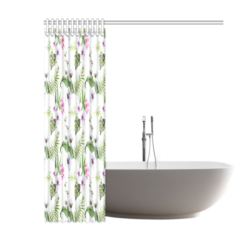 "Tropical Hibiscus and Palm Leaves Shower Curtain 60""x72"""