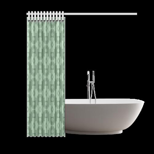"Green Geometric Tile Pattern Shower Curtain 60""x72"""