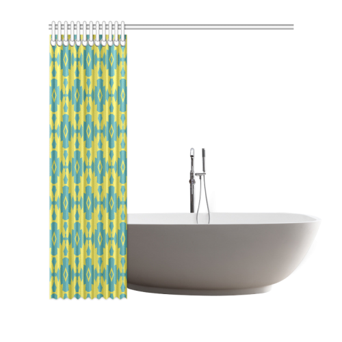 "Yellow Teal Geometric Tile Pattern Shower Curtain 66""x72"""