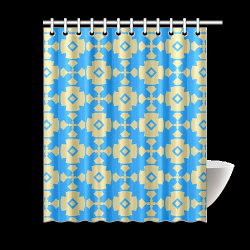 Blue Gold Geometric Shower Curtain 60 X72 Id D100347