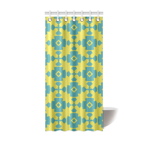 Yellow Teal Geometric Tile Pattern Shower Curtain 36 X72 Id D100325