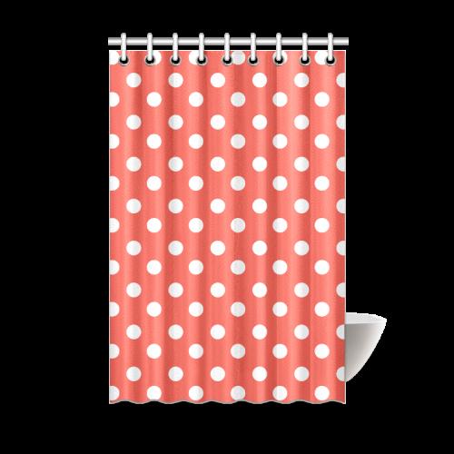 Orange Red Polka Dots Shower Curtain 48\