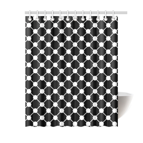 """Black and White Trellis Dots Shower Curtain 60""""x72"""""""