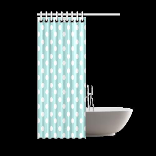 "Light Blue Polka Dots Shower Curtain 48""x72"""