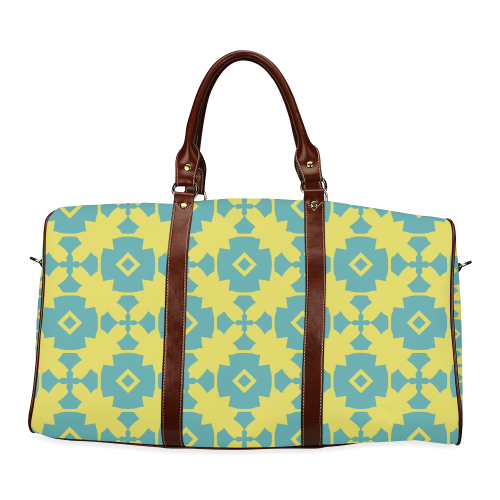 Yellow Teal Geometric Tile Pattern Waterproof Travel Bag/Large (Model 1639)