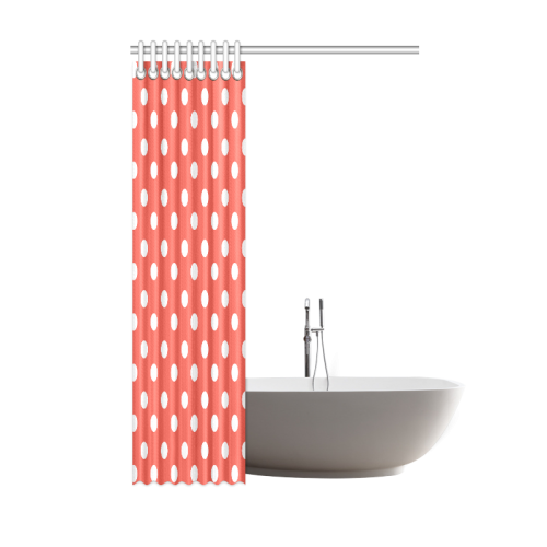 "Orange Red Polka Dots Shower Curtain 48""x72"""