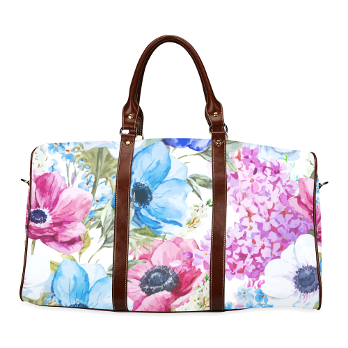 Watercolor Floral Pattern Waterproof Travel Bag/Large (Model 1639)