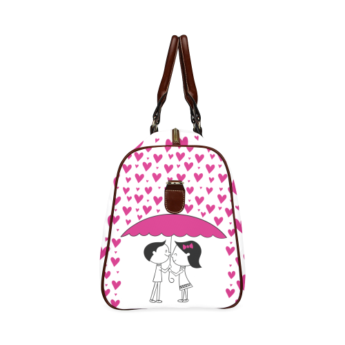 Romantic Couple With Hearts Waterproof Travel Bag/Large (Model 1639)