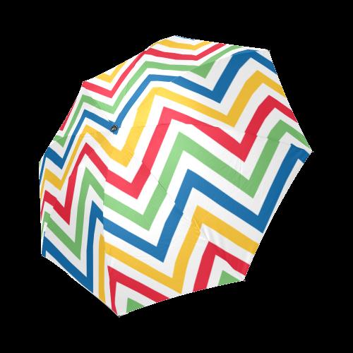 Green Red Chevron Foldable Umbrella (Model U01)
