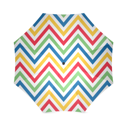 Green Red Chevron Foldable Umbrella